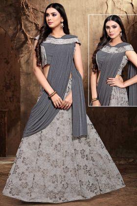 Designer Lehenga Pattern Saree Grey Color Fancy Fabric