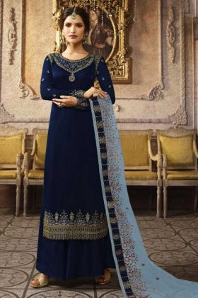 Designer Satin Georgette Navy Blue Plazzo Suit Online