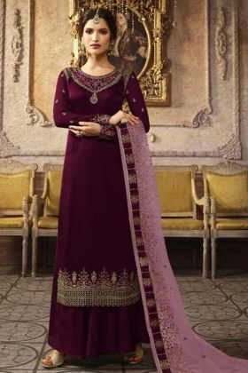 Designer Satin Georgette Purple Plazzo Suit Online