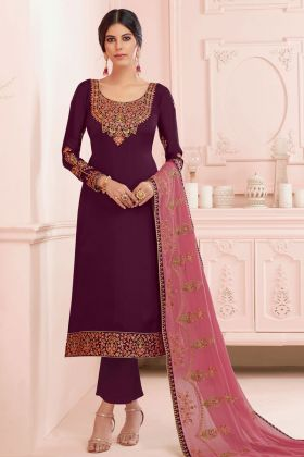 Designer Satin Georgette Straight Cut Salwar Suit With Violet Color