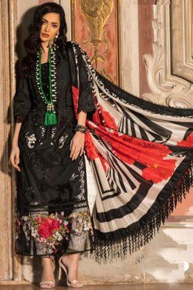 Designer Semi Lawn Cotton Black Pakistani Suit with Beautiful Lace Latkan Dupatta
