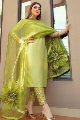Designer Taffeta Silk Mehendi Salwar Suit With Fancy Beautiful Flower Dupatta