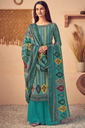Designer Teal Blue Color Pure Wool Pashmina Plazzo Suit