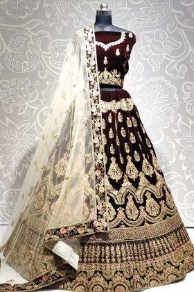 Designer Velvet Brown Color Bridal Wear Lehenga Choli
