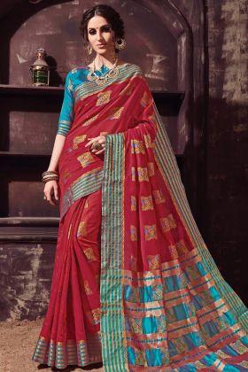 Designer Wear Red Cotton Silk Saree