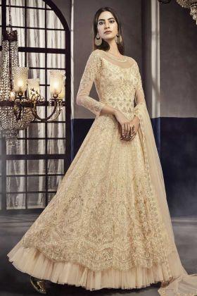 Designer Wedding Wear Cream Net Indo Western Dress Online