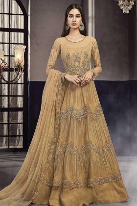 Designer Wedding Wear Occure Yellow Net Indo Western Dress