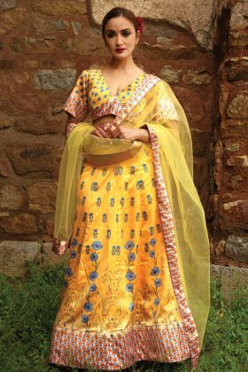 Designer Yellow Lehenga Choli With Digital Printed Blouse