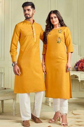Designer Yellow Pure Cotton Couple Combo Kurta With Payjama And Kurti With Pant