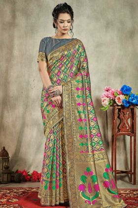 Designer Art Silk Banarasi Saree In Weaving Work Multi Color