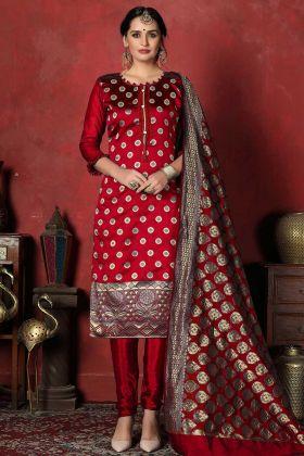 Designer Banarasi Silk Dress Material In Maroon Color