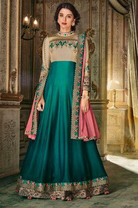 Designer Beige Embroiderd Anarkali Suit