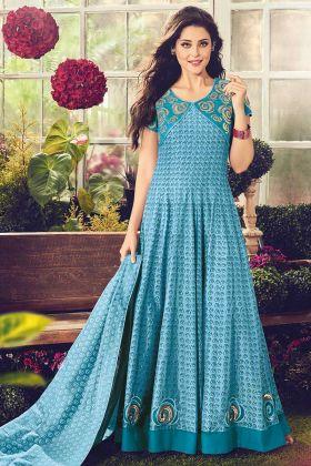 Designer Blue Cotton Fabric Anarkali Frock Suit Design