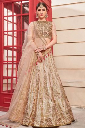 Designer Bridal Lehenga Choli Thai Silk Salmon Pink Color