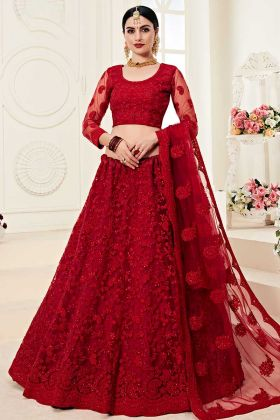 Designer Bridal Red Lehenga In Embroidered Net With Satin Silk Fabric