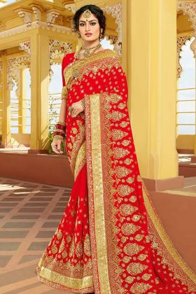 Designer Bridal Red Saree Online