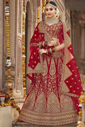 Designer Bridal Silk Red Lehenga Choli