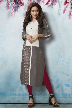 Designer Brown and White Kurti