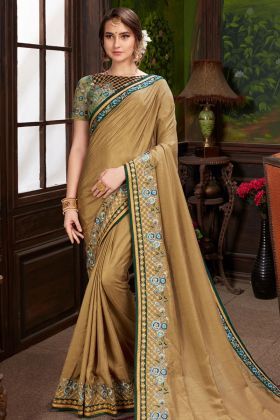 Designer Brown Heritage Dola Silk Saree
