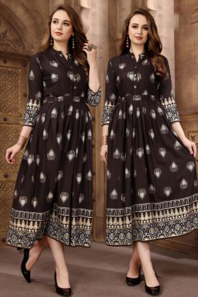 Designer Brown Rayon Party wear Anarkali Kurti
