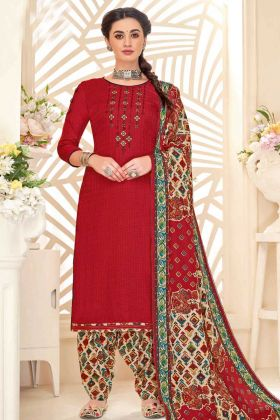 Designer Casual Wear Pure Pashmina Printed Patiyala Suit Red Color