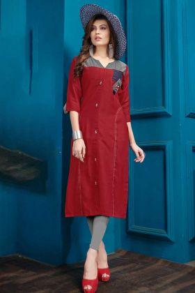 Designer Casual Wear Red Cotton Flex Kurti