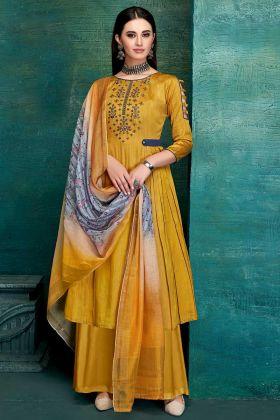 Designer Casual Wear Yellow Color Pure Jam Satin Palazzo Dress