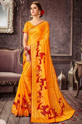 Designer Chiffon Saree With Floral Printed Blouse Design