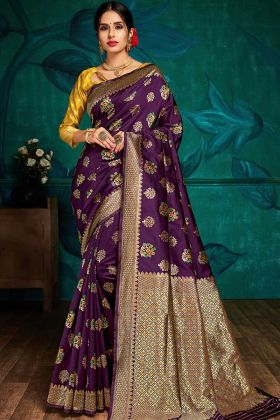 Designer Classic Wear Banarasi Silk Saree Purple Color