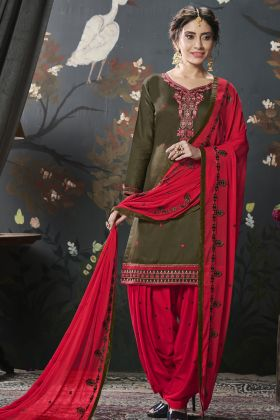 Designer Cotton Silk Olive Green Patiala Suit