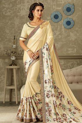 Designer Cream Lycra Saree