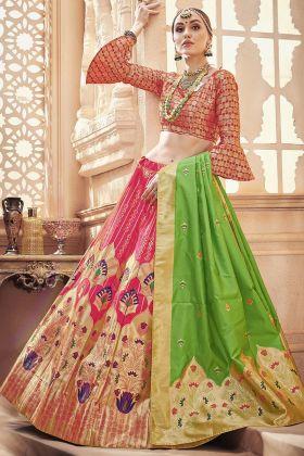 Designer Dark Pink Banarasi Art Silk Lehenga Choli