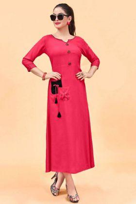 Designer Dark Pink Color Plain Kurti