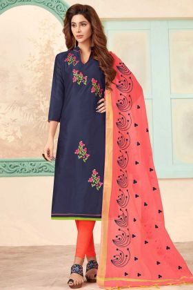 Designer Embroidered Blue Straight Cut Salwar Suit