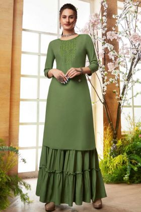 Designer Embroidered Readymade Sharara Kurti