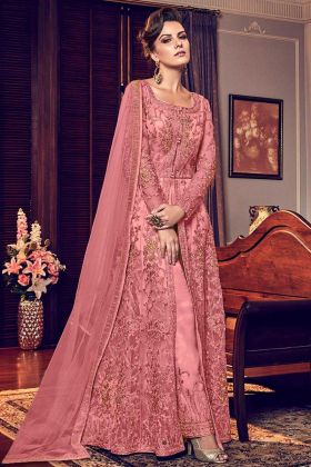 Designer Embroidered Work Soft Net Pink Anarkali Suit