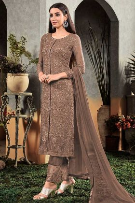 Designer Embroidery Light Brown Heavy Faux Georgette Palazzo Suit