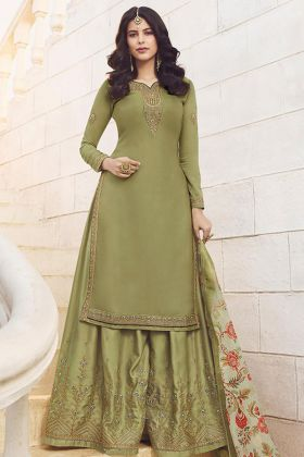 Designer Embroidery Pista Sharara Suit Maslin Georgette Satin