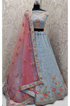 Designer Exclusive Georgette Wedding Lehenga Choli In Powder Blue Color