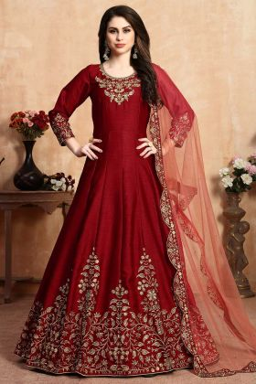 Designer Floor Length Anarkali Suit Red Color For Party