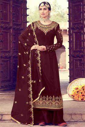 Designer Georgette Maroon Color Partywear Salwar Suit