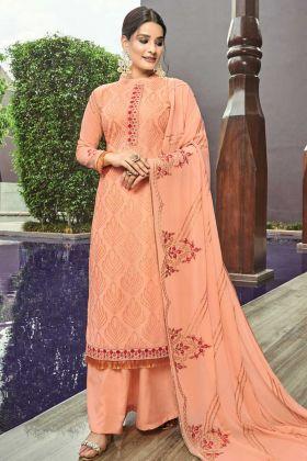 Designer Georgette Palazzo Dress Light Orange Color