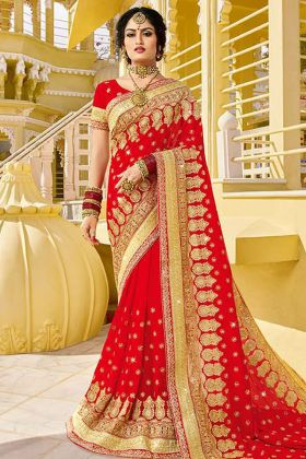 Designer Georgette Red Bridal Saree
