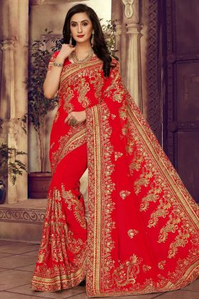 Designer Georgette Saree With Stone Work Red Color