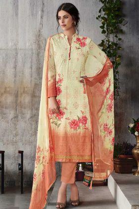 Designer Georgette Straight Salwar Suits Cream Color