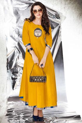 Designer Gown Cotton Slub Yellow Color