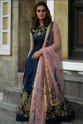 Designer Gown Silk Navy Blue In Hand Work