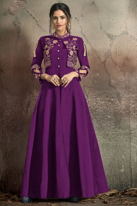 Designer Gown Soft Taffeta Purple Color Stitched With Jacket