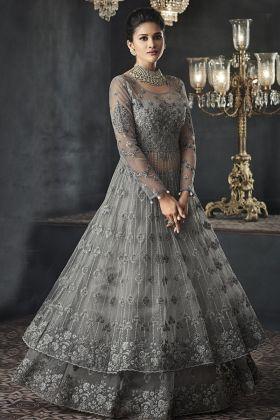Designer Grey Anarkali Net Suit