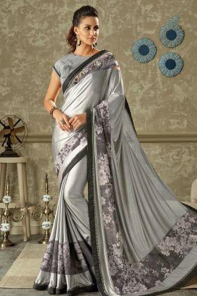 Designer Grey Lycra Saree